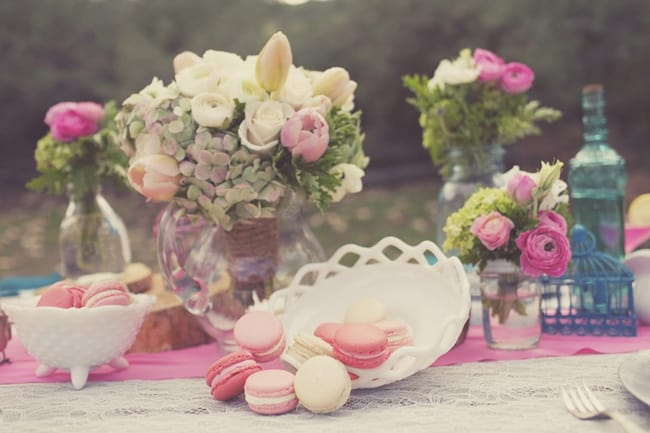 plate of macaroons for styled shoot