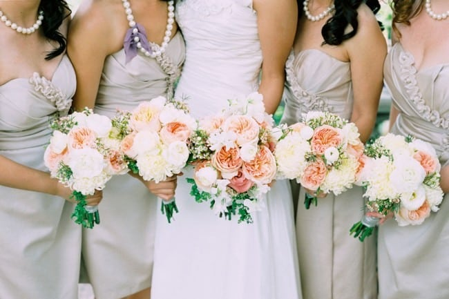 silver dress pearl necklace bridesmaids