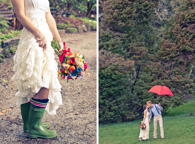 Green gumboots and red umbrella