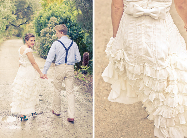Walking on dirt road with ruffled dress