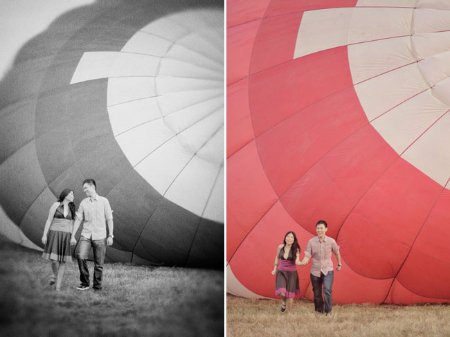 couple running away from a collapsing hot air balloon
