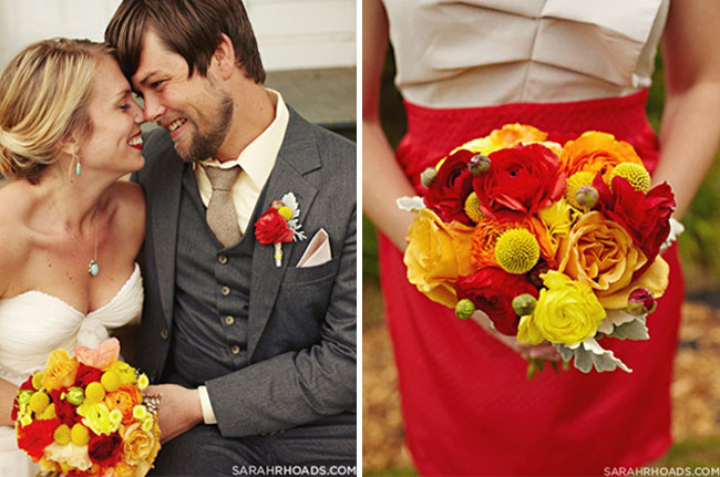 stunning red and yellow bridal bouquet for Hawaii wedding on Kona