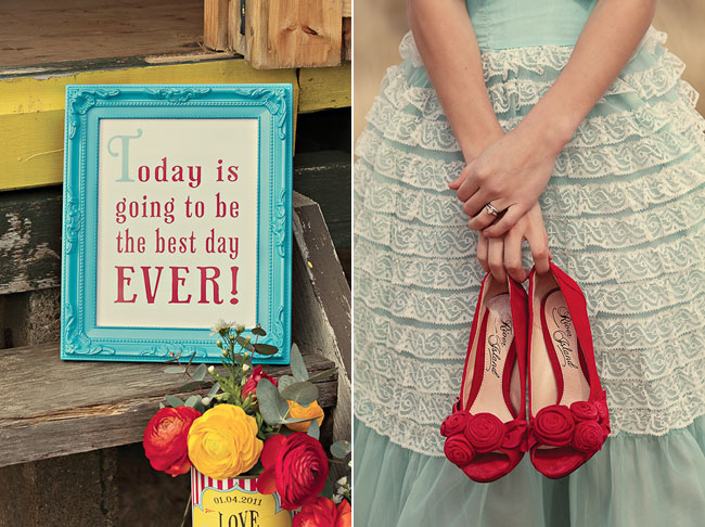 "Sign that reads, ""Today is going to be the best day ever!"" Bride holding a pair of red shoes"