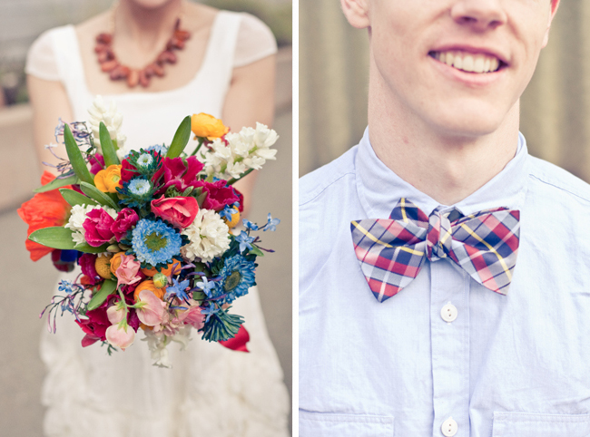 Brideal bouquet photo and plaid bowtie groom