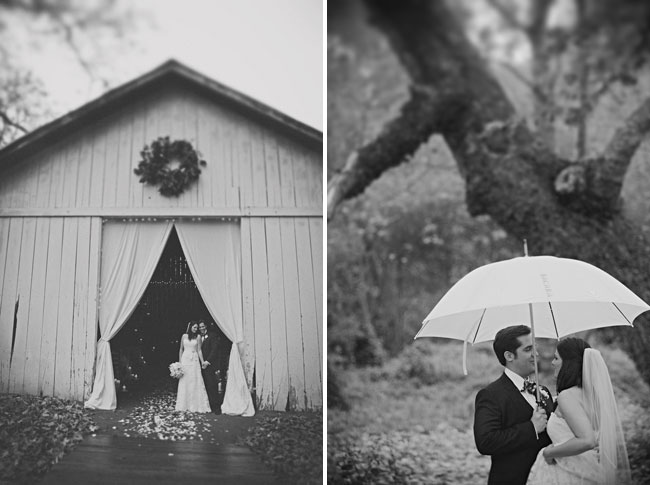Black and white photographs of bride and groom together under umbrella and standing at barn wedding ceremony curtain doorway