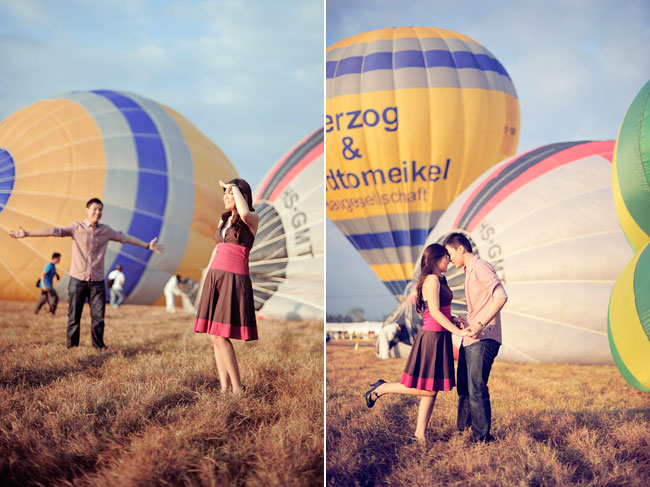Hot Air Balloon Engagement Session at festival in Clark, Pampanga in the Philippines