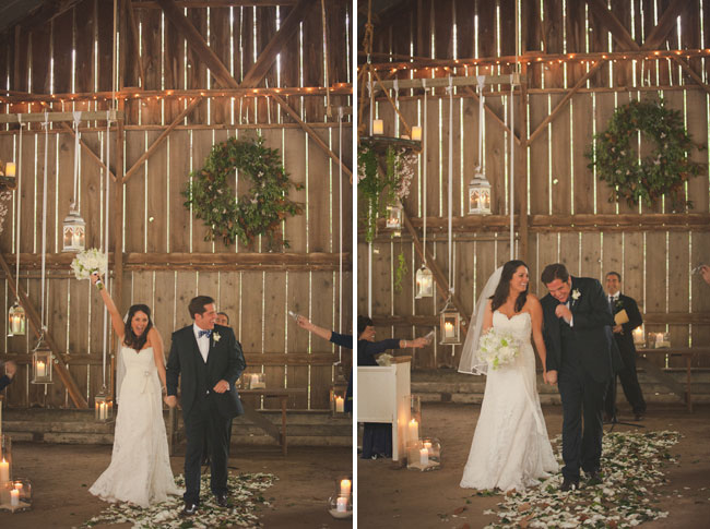 Bride and groom celebrate and walk down aisle together at barn wedding ceremony in Ranchos Dos Pueblos
