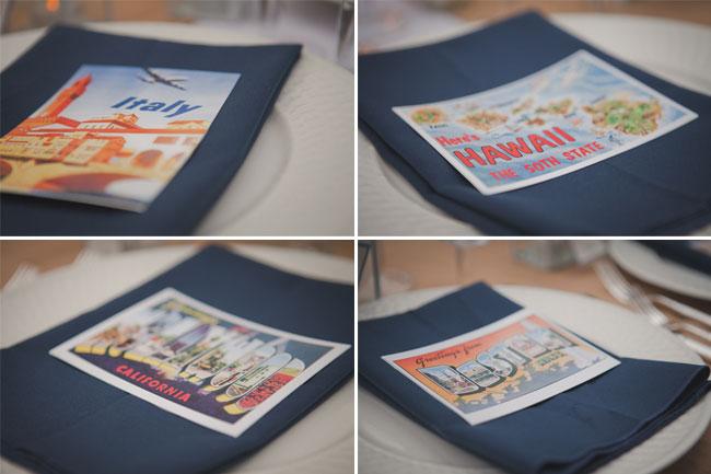 vintage postcards on napkins for wedding reception
