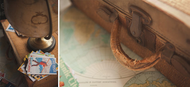 closeup photo of vintage suitcase and of globe with postcards