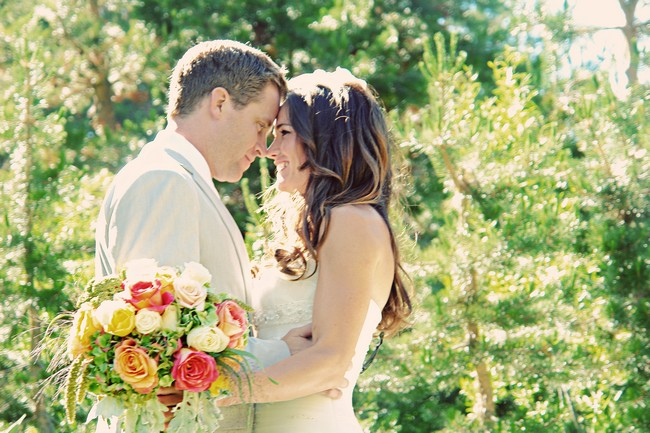 dreamy photo of bride and groom
