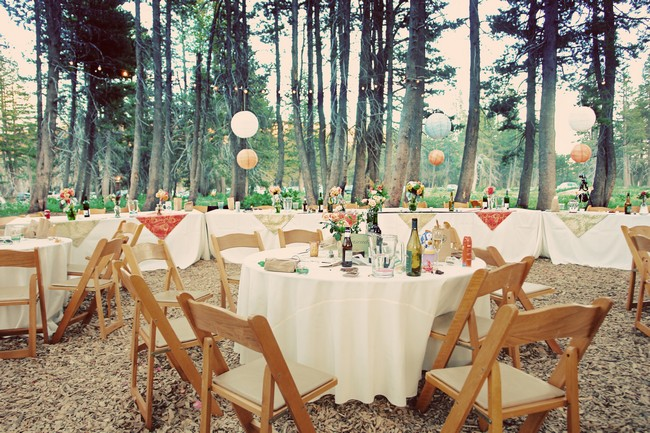 round tables with lantern-type balloons and flowers