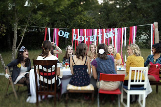 All the girls sit down to a  styled brunch for Oh Lovely Day