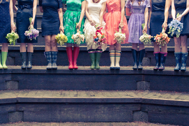 bridesmaids and bride in gumboots