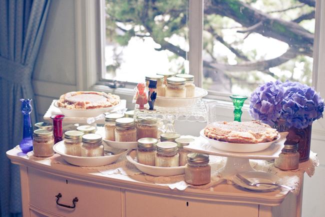 dessert dresser with apple pie mason jars