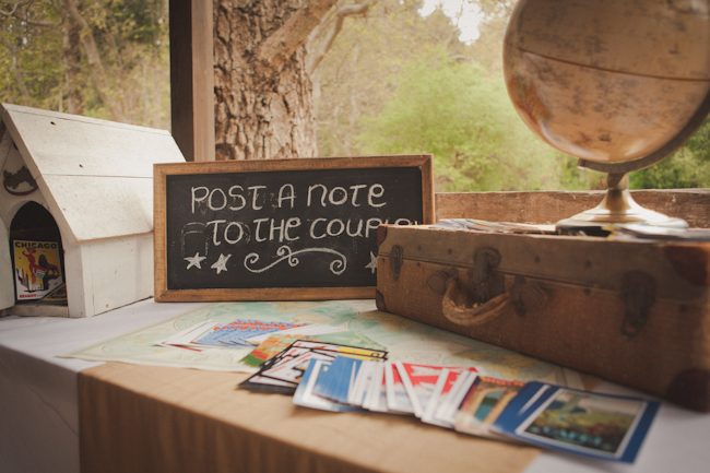 Travel themed wedding in Ranchos Dos Pueblos - old globe, suitcase and postcards on guestbook table