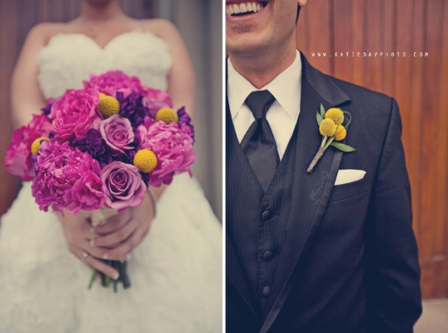 groom in tuxedo, vest, and necktie with yellow billy ball boutonniere