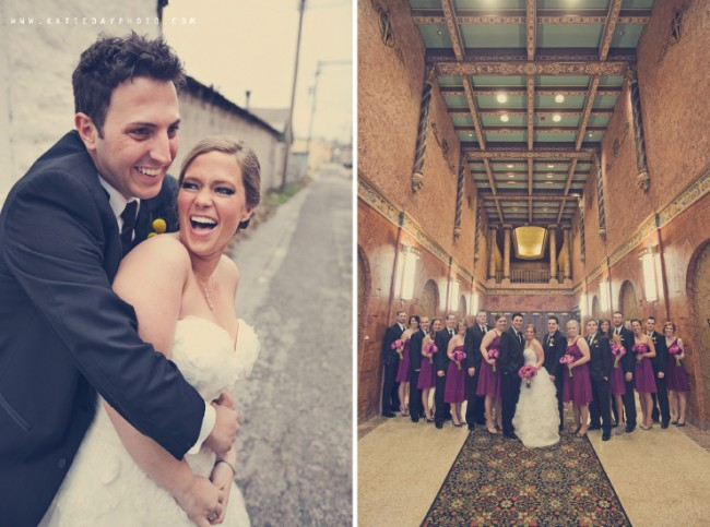 bridal party stand in grand church hallway together