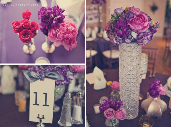purple and pink flowers in tall crystal vase