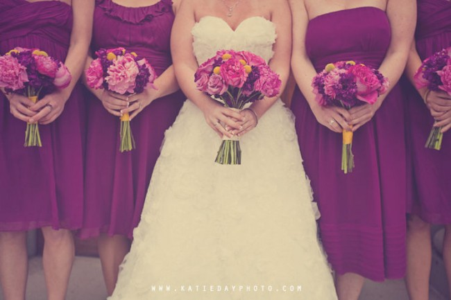 Purple Bridesmaid Dresses with matching floral bouquets