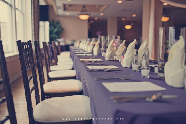 dark purple tablecloth for reception table