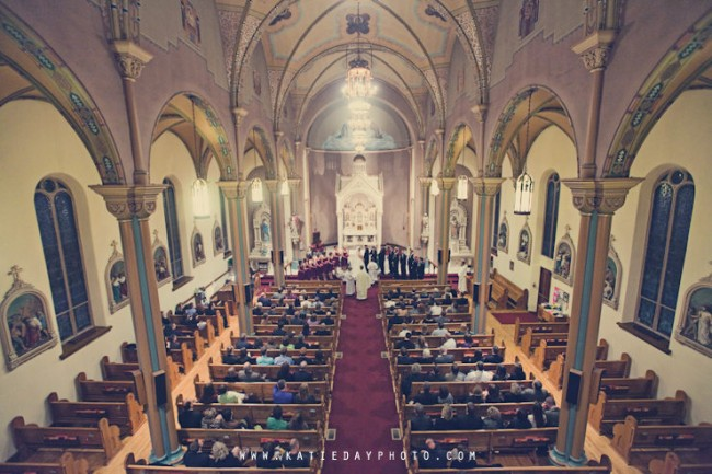 Stunning overhead photo of church wedding ceremony