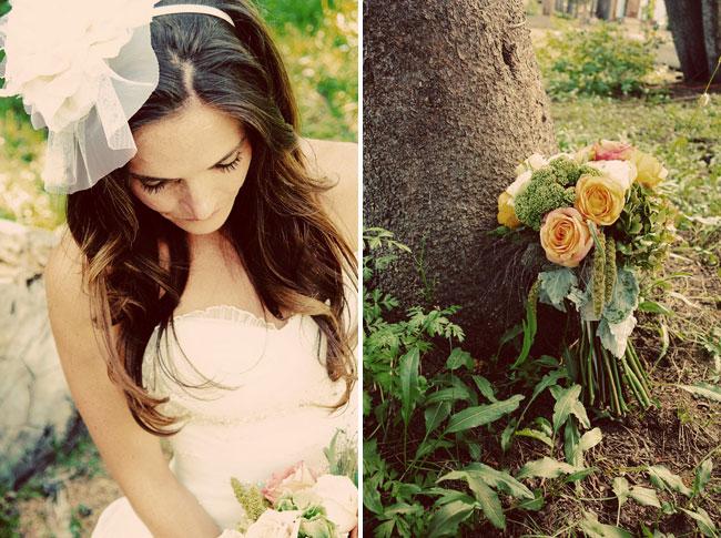 bride's hairpiece; bridal bouquet