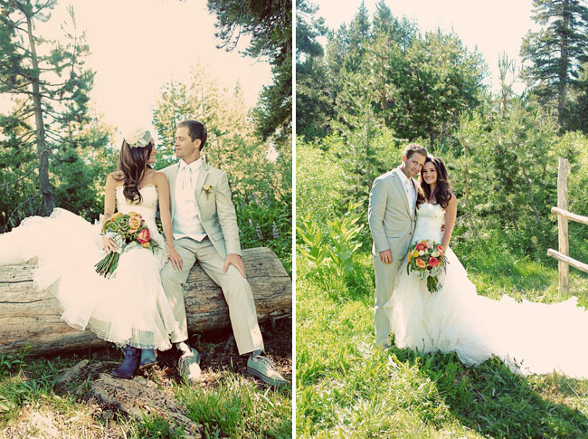 bride and groom sitting on log; the couple standing in the woods
