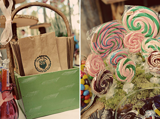 personalized favour bags; lollipops of assorted colors