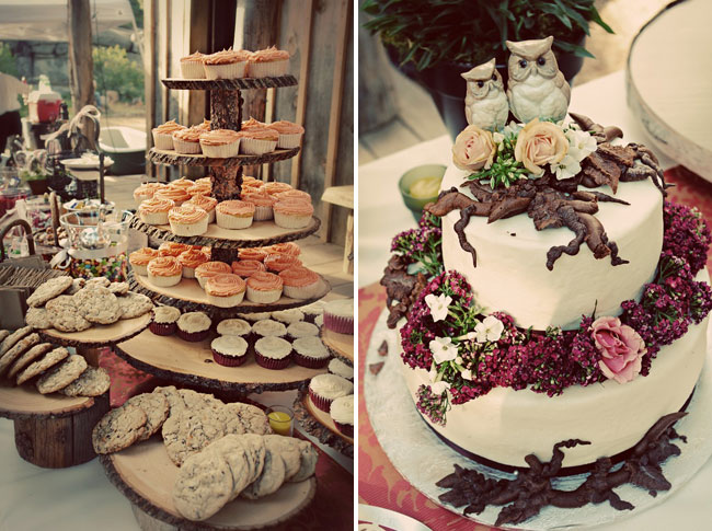 assorted cupcakes, cookies; the wedding cake decorated with flowers and owls atop the cake