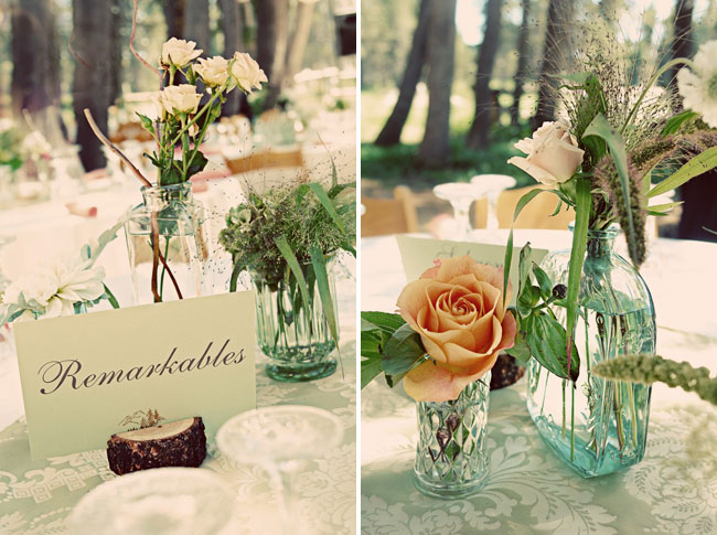 Remarkables in wood round logs;  peach-pink roses on tables