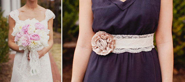 bridesmaids sashes using thick lace and peach fabric flower
