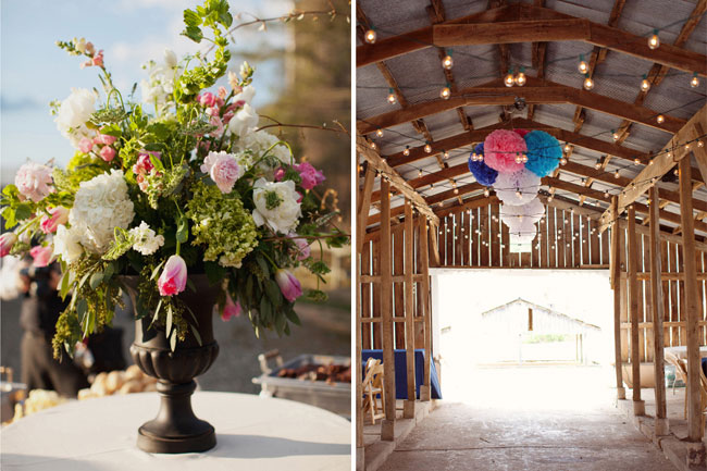 tissue paper pompoms hanging from rafters at Ashland Berry Farm