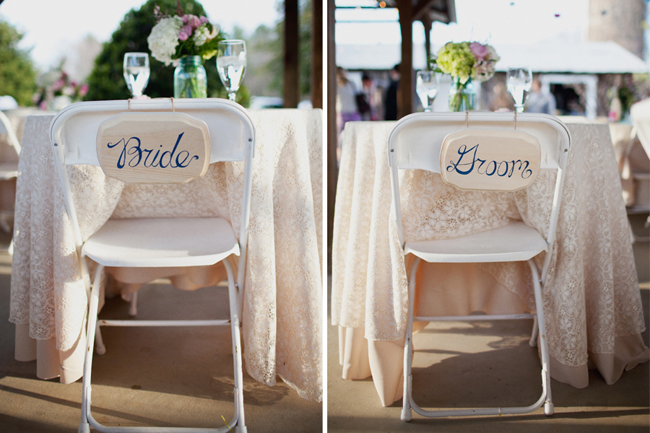 wood signs painted with bride and groom hang from foldup chairs