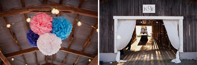 Colored Pom Poms hang from barn rafters