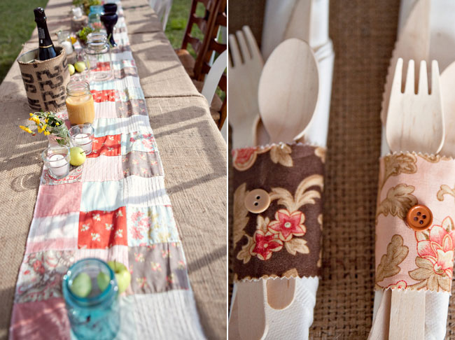 cutlery in hand-made holders with burlap tablecloth