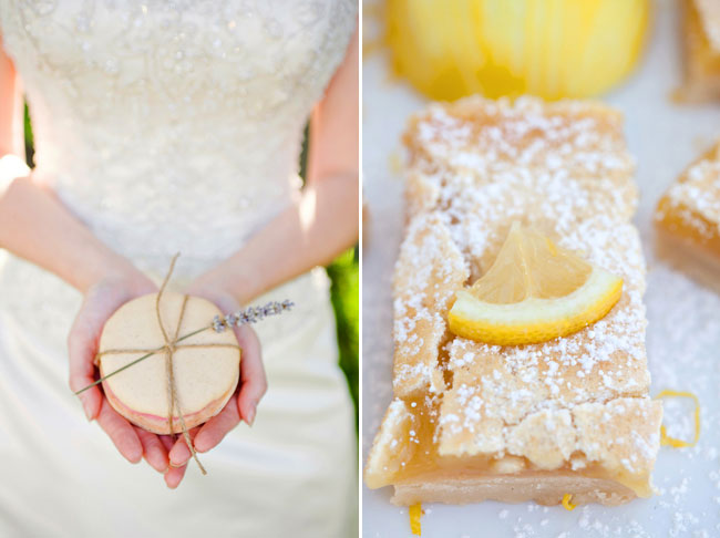 bride holding macaroon wrapped with twine and dried lavender. (right photo) lemon cake with slice of real lemon on top