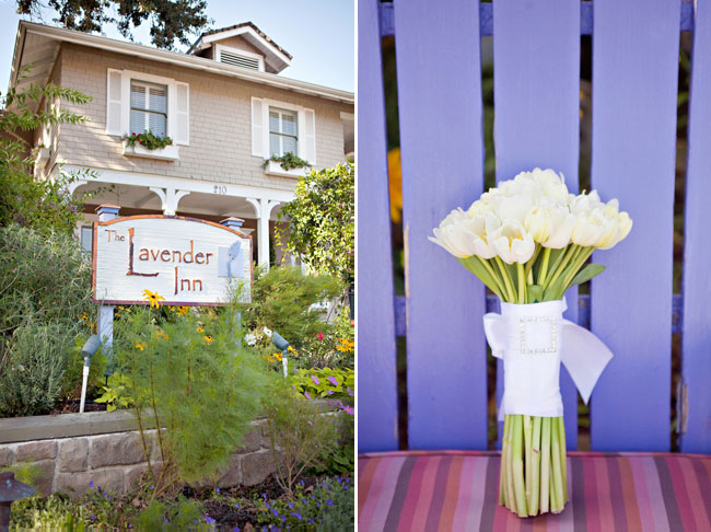 Photo of the Lavender Inn sign and house, white tulip bunch set against lavender colored wood chair