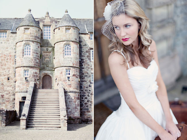 Photo of two turrets and steps leading up to the back of Rowallan Castle. (right) model with birdcage veil in white strap dress