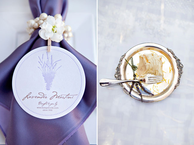 Lavender Napkin with pearl holder; dessert on silver tray with 3 sprigs of dried lavender