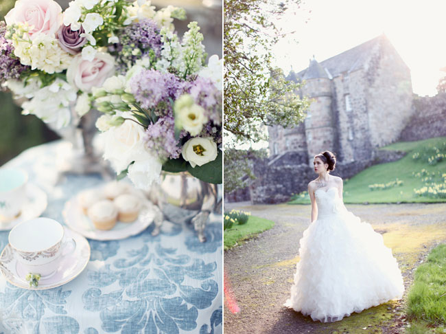 bridal model in white dress walks in back of Rowallan Castle