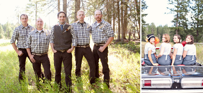 groom and groomsmen in plaid shirts; bridesmaids in vintage convertible