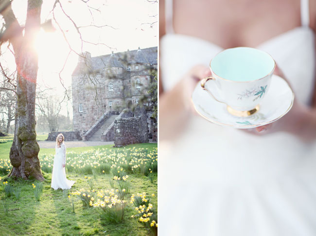 castle bridal shoot model walking among daffodils behind Rowallan Castle. (Right) holding a teacup and saucer