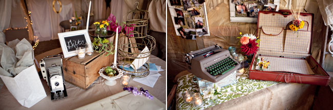 ultimate vintage DIY wedding details - old typewriter and attache case