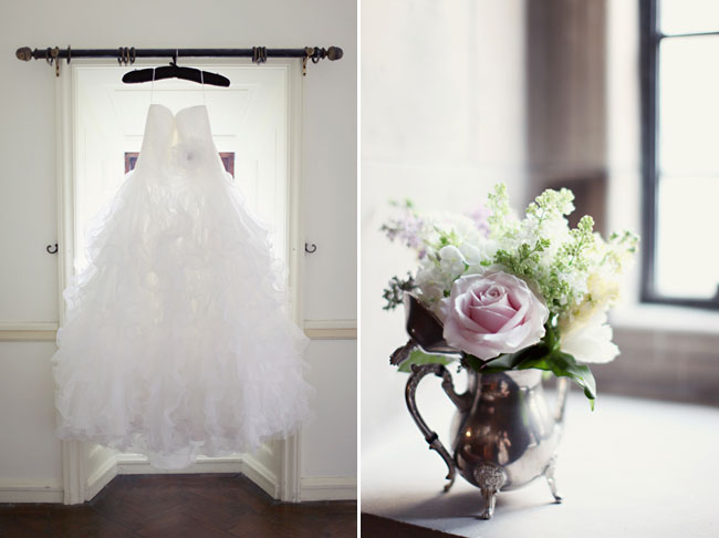 castle bridal shoot dress hanging on curtain rod. (right photo) flowers in a silver jug