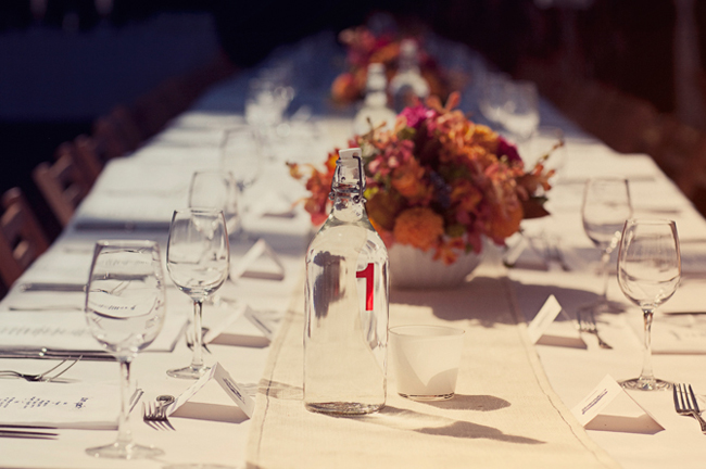 glass water jug with table number