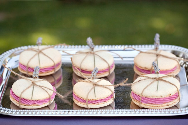 mini dried lavender on 6 macaroons wrapped with twine, set on silver tray