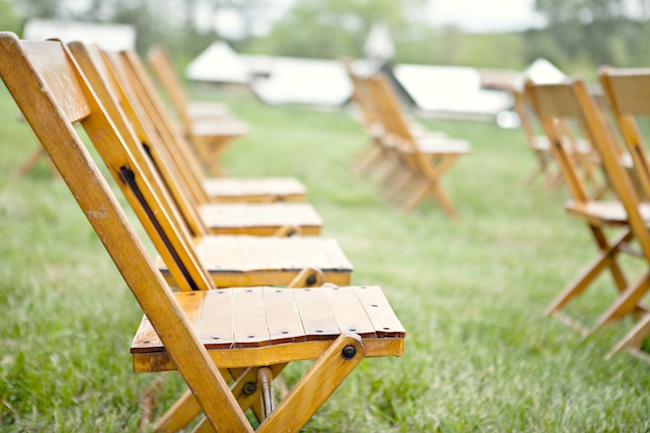 Wood Folding Chairs For DIY Wedding At The Farm, Rome, Georgia