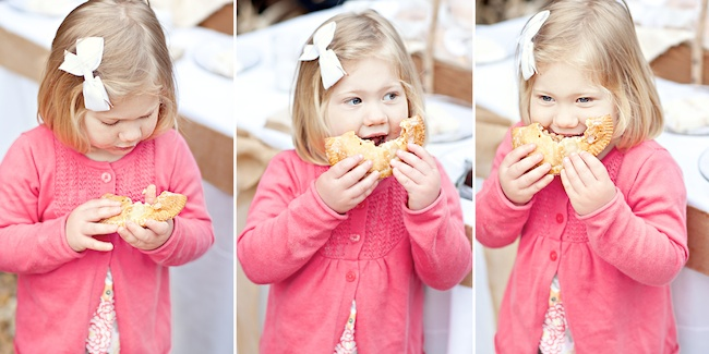Girl eating homemade apple pie at wedding reception