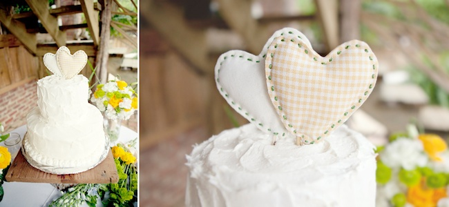 DIY cake stand and stitched heart cake topper