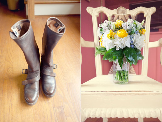 Bridal botos and flowers on vintage chair at wedding at The Farm, Rome, GA